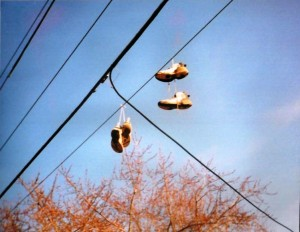 sneakers on wire